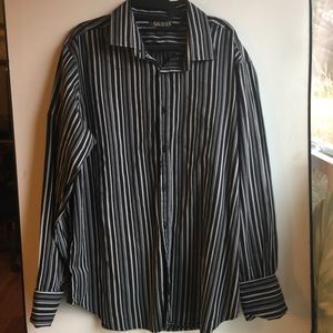 GUESS MENS BLACK & GREY STRIPED SHIRT SIZE XXL